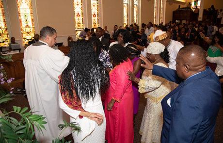 church members mingling