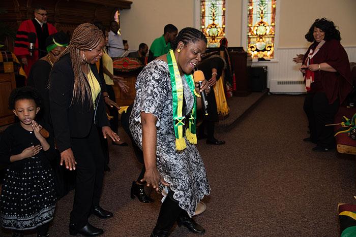 group of church members dancing