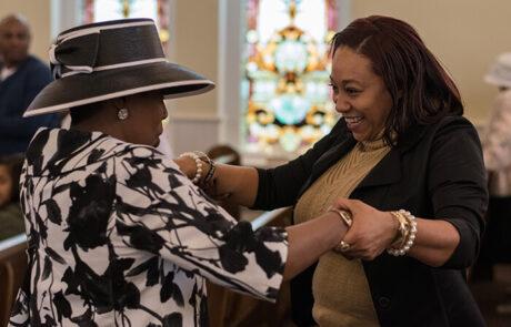 church members dancing together