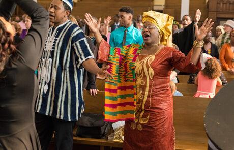 people singing during church